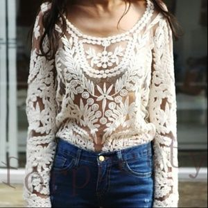 Express White Long Sleeve Crochet Lace Sheer Top